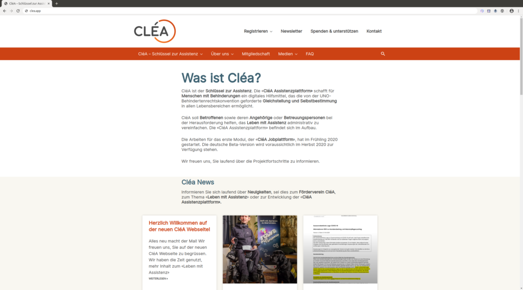 Screenshot der CléA Website