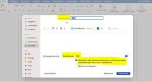 Mac: Printscreen, wie man Dokumente als PDF abspeichert