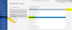 Windows: Printscreen wie man Dokumente als PDF abspeichert mit Speichern unter - PDF